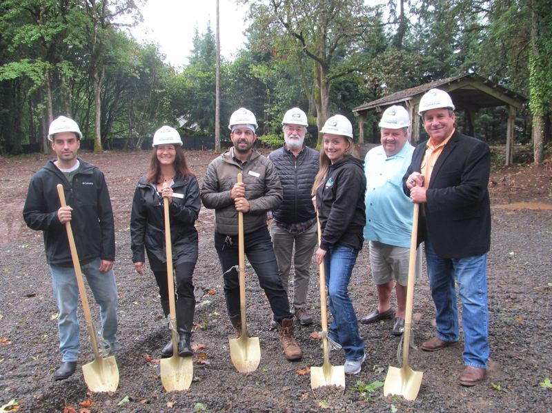 PHOTO BY ELLEN SPITALERI - Pictured at the groundbreaking for A Village For One are, left to right: Calder Trahan, Brenda Ketah, Chris McDowell, Ralph Trahan, Cassie Trahan, Jim Standring and Mike Eichenberger.