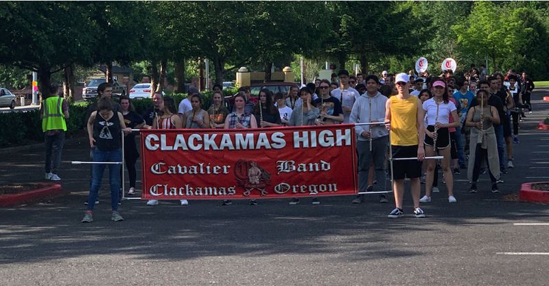 COURTESY PHOTO - Members of the Clackamas High School band, pictured practicing for the Rose Parade last year, will participate in this years Homecoming Parade.