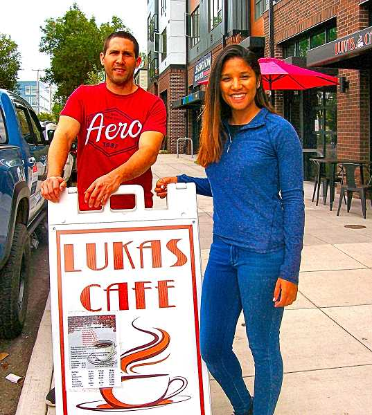 RITA A. LEONARD - In front of the new Lukas CafÉ in Westmoreland, here are its manager, Juan Hernandez, and its owner, Laura Arias.