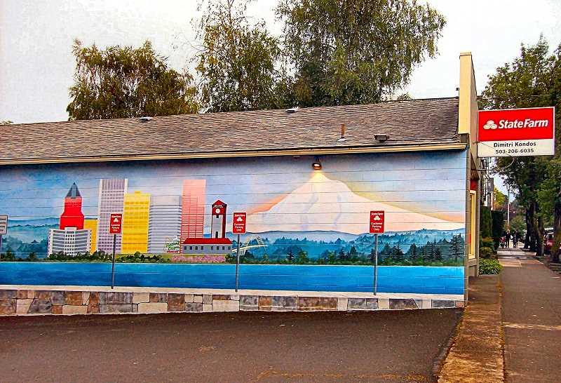 RITA A. LEONARD - Elaine Printz painted this sixty-foot-long mural at 7304 S.E. Milwaukie Avenue, to beautify a Westmoreland insurance office.