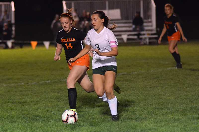 PMG PHOTO: DEREK WILEY - North Marion junior Mya Hammack scored four goals Monday night at Molalla High School.