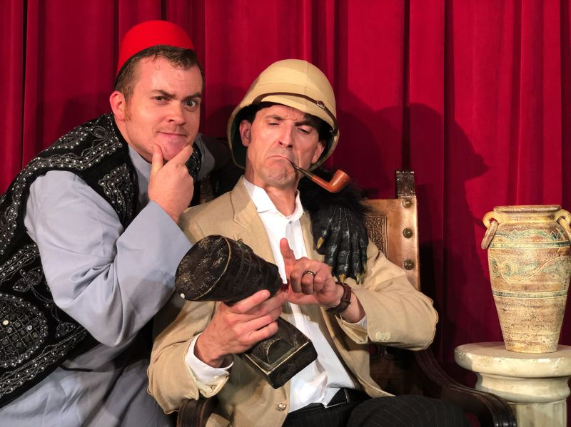COURTESY PHOTO - Jay Hash and Justin Lazenby represent a collective of eight different characters in Nutz-n-Boltz Theater Company's production of 'The Mystery of Irma Vep.'