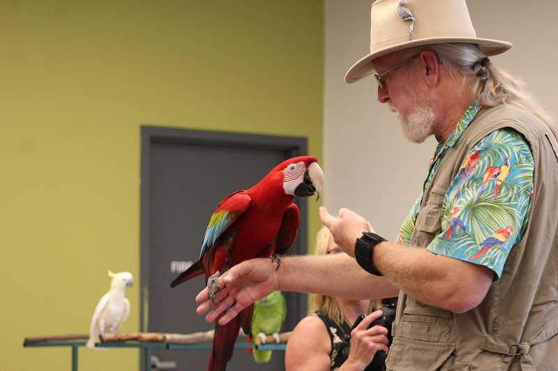 PMG FILE PHOTO: KRISTEN WOHLERS - Wildlife educator Karl Anderson, AKA The Oregon Bird Man, is bringing 15 of his exotic birds for a presentation at Pheasant Pointe Assisted Living on Thursday, Sept. 26 from 2:30-3:30 p.m.