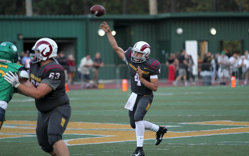 PMG PHOTO: MILES VANCE - Central Catholic quarterback Cade Knighton and the Rams have risen to No. 3 in the latest Class 6A state coaches poll after starting their 2019 season at 2-1.