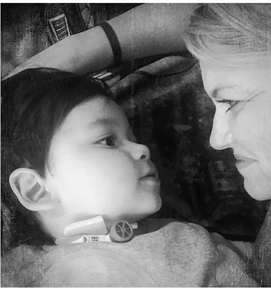 SUBMITTED PHOTO - Ezra, who is legally blind, seems to be looking directly at his grandmother, Tina Jorgensen.