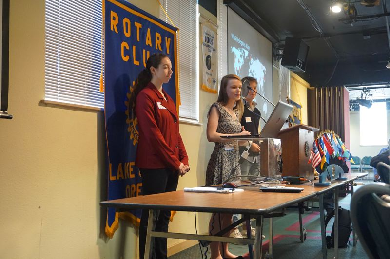 PMG PHOTO: CLAIRE HOLLEY - Sabrina Safari, Elisa Wadell and George Danzelaud present at the Lake Oswego Rotary Club meeting Monday.