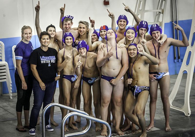 COURTESY PHOTO - The Lakeridge boys water polo team and its coaches knew exactly who was No. 1 after the Pacers beat Curtis, Washington, 9-5 to win the championship of the BSD Club Invitational at Tualatin Hills Aquatic Center on Sunday, Sept. 22.