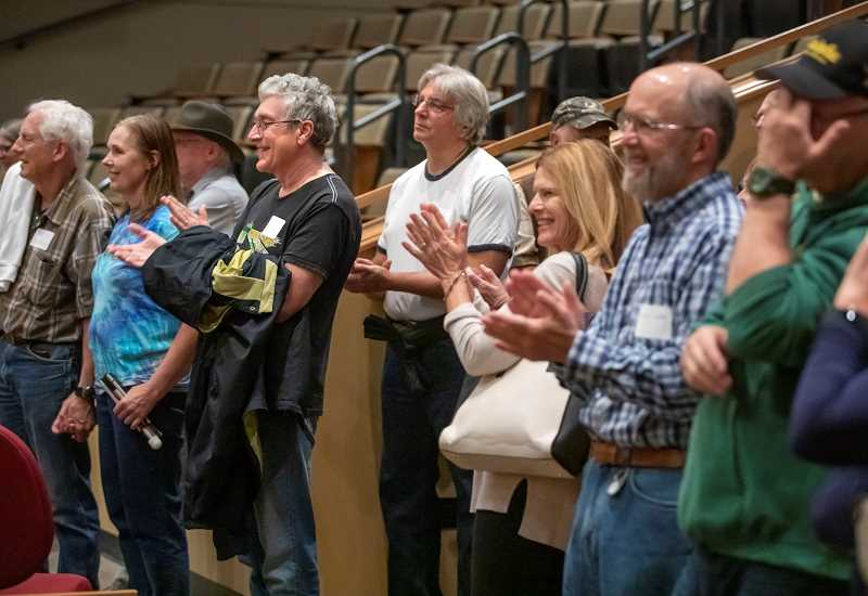 TIDINGS PHOTO: JONATHAN HOUSE - Alumni of the West Linn Class of 74 applaud a performance from the West Linn production of Chicago.