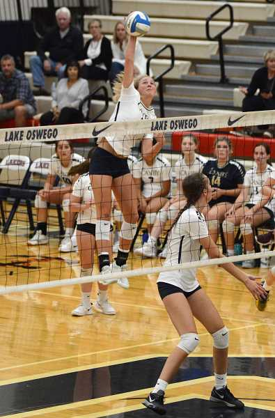 PMG PHOTO: DEREK WILEY - Canby junior Daley McClellan had 32 kills in a win at Lake Oswego recently.