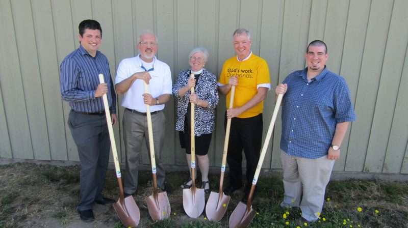 COURTESY PHOTO. - Pictured from left to right are: Jared Maddox of United Methodist, David Hutchinson of Plymouth Presbyterian, Jaime Sanders of Christ Episcopal, Randy Sinn of First Lutheran,  and Justin Bruner of Christian Church. The faith group leaders are fundraising and volunteering for Habitat for Humanity.