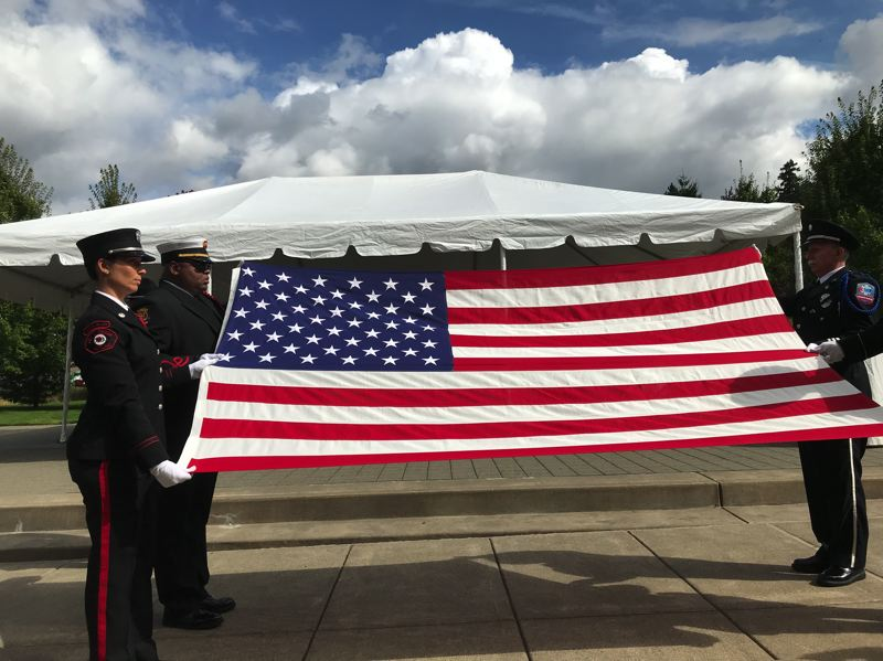 COURTESY PHOTO - Members of the Oregon Fire Service Honor Guard take part in the annual Fallen Firefighters Memorial Ceremony, which is held every year on the third Thursday of September. The event included several guest speakers, a roll call of honor, and a ceremony to honor those who have fallen.