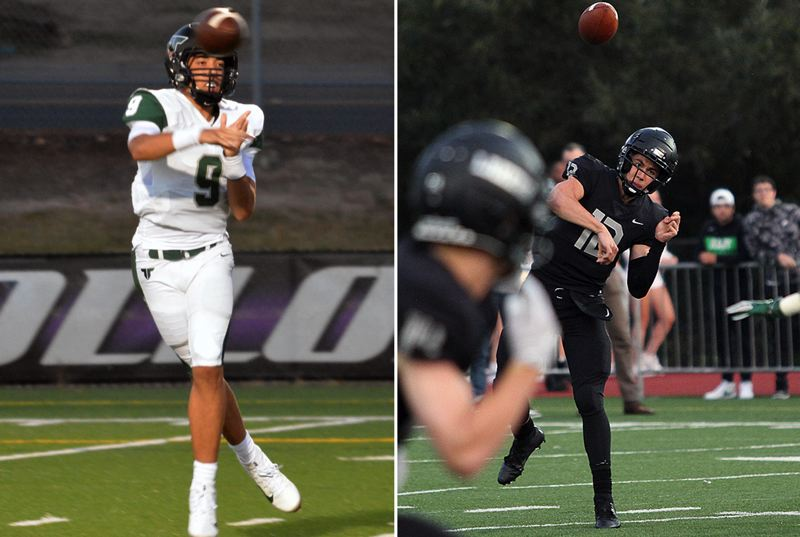 PMG PHOTOS - Tigard's Drew Carter (left) and Lake Oswego's J.J. Woodin and their teams — the No. 2 and No. 1 teams in the state — will meet at 7 p.m. tonight (Friday, Sept. 27) at Tigard High School.