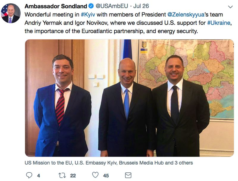 TWITTER - Gordon Sondland's U.S. Government twitter feed is replete with mentions of the Ukraine, including one about a meeting cited by the anonymous whistleblower whose complaint has sparked a congressional impeachment inquiry of Donald Trump.