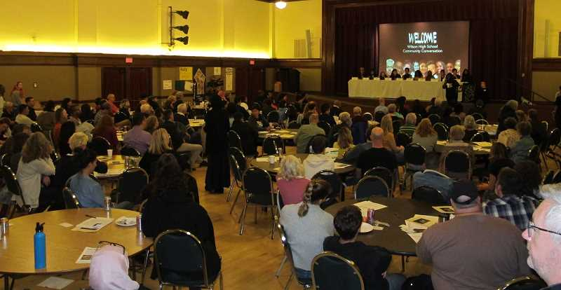 A crowd estimated at 200 showed up for the Wilson High School Community Conversation at the Multnomah Arts Center.