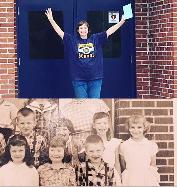 COURTESY PHOTO: SHEILA DANIELS - (Top) Sheila Daniels's last day of teaching and (below) Daniels's first-grade class. She's the one with a big smile, top row second from left.