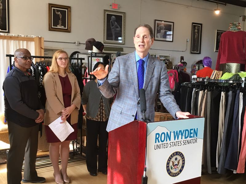 PMG PHOTO BY PETER WONG - U.S. Sen. Ron Wyden, D-Ore., calls for small tax on investment income to offset burden carried by wage earners. He spoke Friday, Sept. 27, after a Main Street Alliance of Oregon meeting at Shwop, a member-based clothing store for low- and moderate-income households in Portland's Sellwood neighborhood.