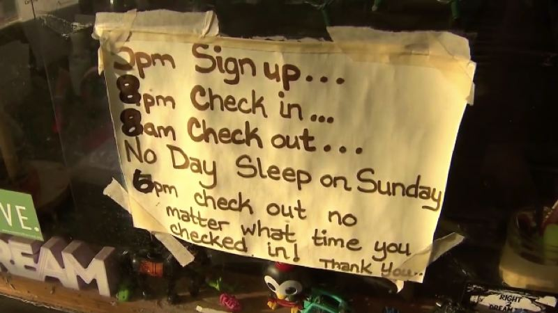 KOIN 6 NEWS - The posted rules at the Right 2 Dream Too homeless camp.