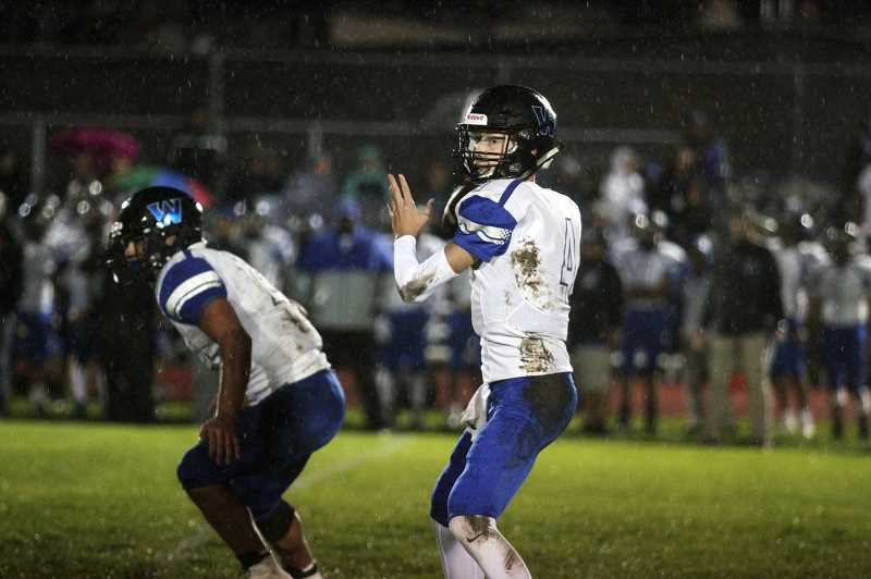 PMG PHOTO: PHIL HAWKINS - Junior quarterback Jordan Blem was subdued by a blitzing North Marion defense and slick rains, going just 8-of-28 for 81 yards and four interceptions on the night.