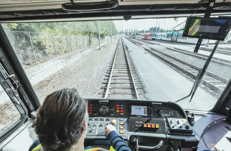 PMG PHOTO: JONATHAN HOUSE - The cab of a MAX train is a lot different than the front seat of a car, beginning with no steering wheel, because it runs on rails.