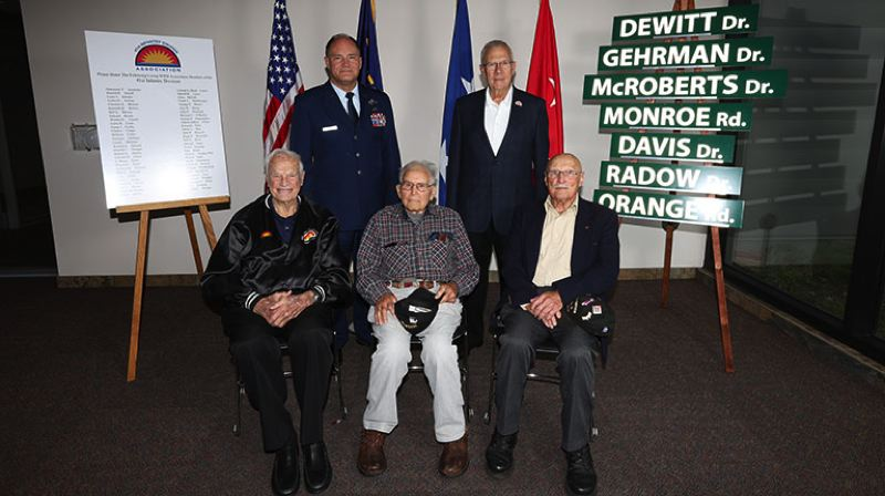COURTESY PHOTO: NATIONAL GUARD TECH. SGT. JASON VAN MOURIK - Maj. Gen. Michael Stencel and retired Maj. Gen. Raymond Rees pose with Dan Sokol, Bud Lewis and Charles Cripps of the 41st Infantry Division soldiers who served in World War II.