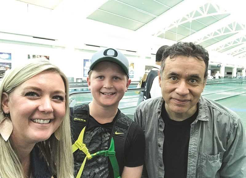"""PHOTO SUBMITTED BY JENNIE QUINN  - Jennie and Ryan Quinn (left) snap a selfie with comedian and actor Fred Armisen after talking with the celebrity about their plans to watch a """"Fuller House"""" taping in Los Angeles."""