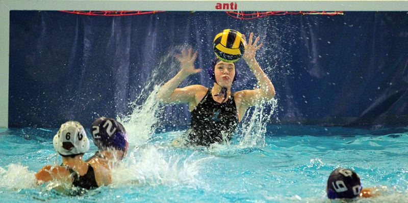 PMG PHOTO: MILES VANCE - Lakeridge goalie Evelyn Miller gets ready to make a stop during her team's 15-1 win over Beaverton on Wednesday, Sept. 25, at Lake Oswego School District Pool.