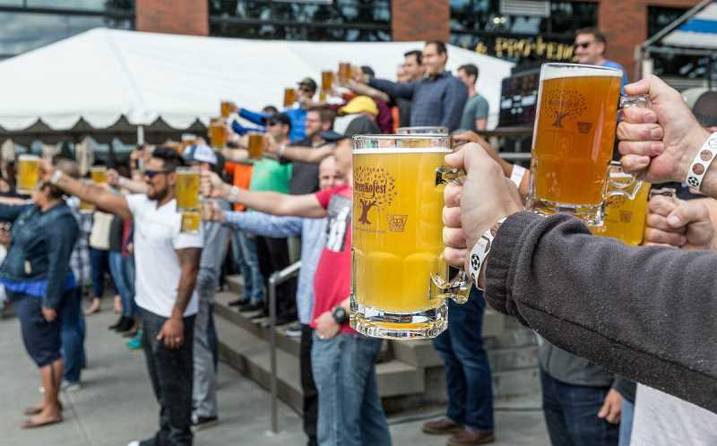 COURTESY PHOTO: MARY LOFTIN  - Masskrugstemmen, or Bavarian beer stein holding contest, returns to OrenKoFest at Jerry Willey Plaza on Saturday, Oct. 5.