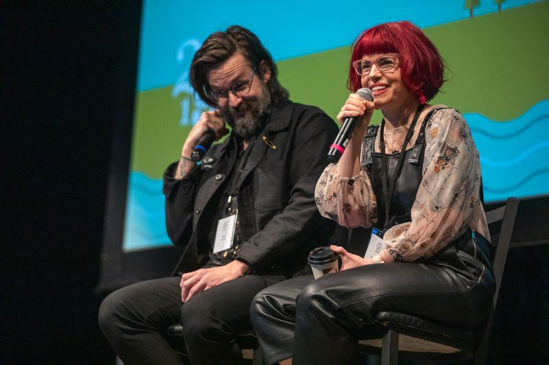 PMG PHOTO: JONATHAN HOUSE - Comic writers Matt Fraction and Kelly Sue DeConnick share stories during the Portland Creative Conference. She's a feminist, he's her husband.