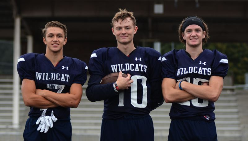 PMG PHOTO: DEREK WILEY - Wilsonville running back Lucas Graves, quarterback Jayce Knapp and receiver Payton Dart are the new faces of the Wildcats' offense.