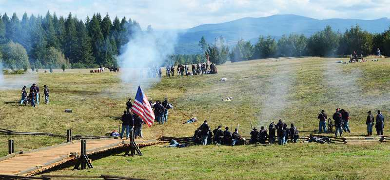 PMG PHOTO: CINDY FAMA - Civil War Reenactment battlefield at Horning Tree Seed Orchard in Colton.