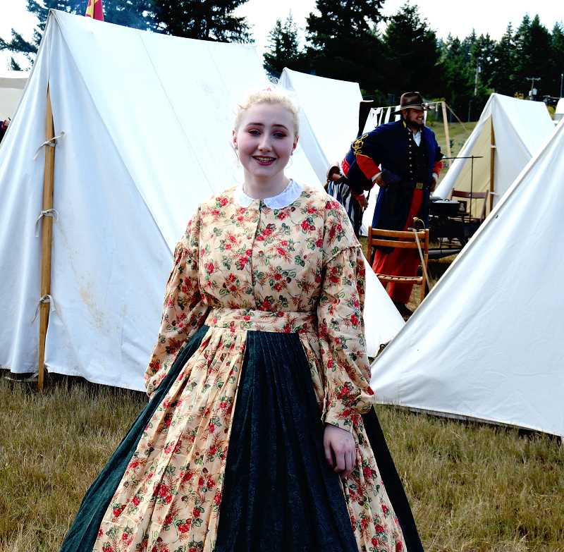 PMG PHOTO: CINDY FAMA - Grace Peterson all dressed up for the 1860s.