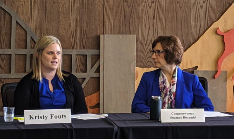 PMG PHOTO: COURTNEY VAUGHN - Congresswoman Suzanne Bonamici hears from teachers like Kristy Fouts (left) and nonprofit employees about their problems with the federal Public Student Loan Forgiveness program during a roundtable discussion held at Portland State University.
