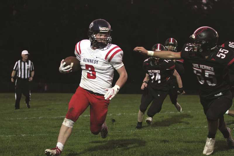 PMG FILE PHOTO: PHIL HAWKINS - Kennedy senior Bruce Beyer accounted for 124 yards and two touchdowns, in addition to a 32-yard field goal in the No. 5 Trojans 23-6 win over Sheridan on Friday.