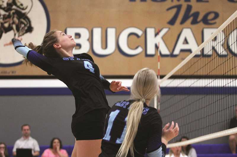 PMG PHOTO: PHIL HAWKINS - St. Paul senior Erin Counts and the Buckaroo volleyball team held Falls City and C.S. Lewis under 10 points per set in a double-header sweep on Wednesday, Sept. 25.