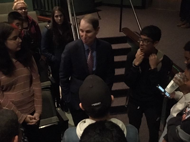 PMG PHOTO BY PETER WONG - U.S. Sen. Ron Wyden, D-Ore., meets with students Tuesday, Oct. 1, at Westview High School in Beaverton. At right is Roshun Sunder, a senior who asked a question during the hourlong session in the auditorium.