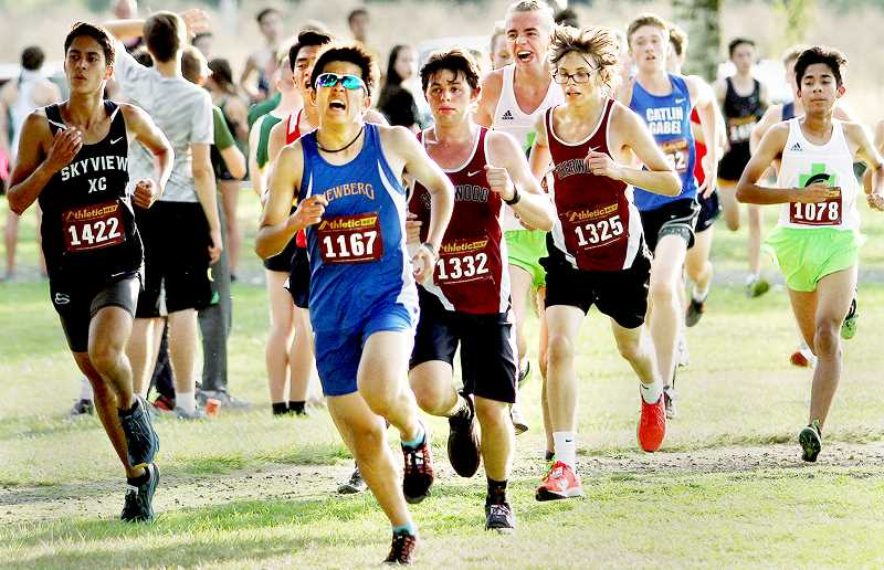 TIGARD TIMES PHOTO: MILES VANCE - The Newberg boys finished seventh out of 40 teams at the Meriwether Cross Country Classic in Hillsboro, led by junior Asher Tatsumi.