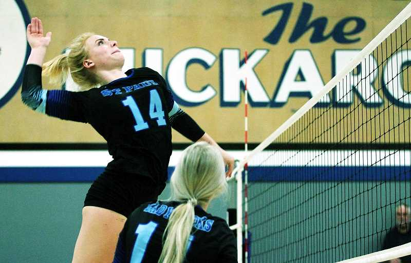WOODBURN INDEPENDENT PHOTO: PHIL HAWKINS - Senior outside hitter Isabelle Wyss has been leading the St. Paul volleyball team on the court this season with athleticism and vocal leadership. As a result, the Buckaroos are 17-2, 9-0 in the Casco League and are ranked No. 2 in the 1A classification by the OSAA.
