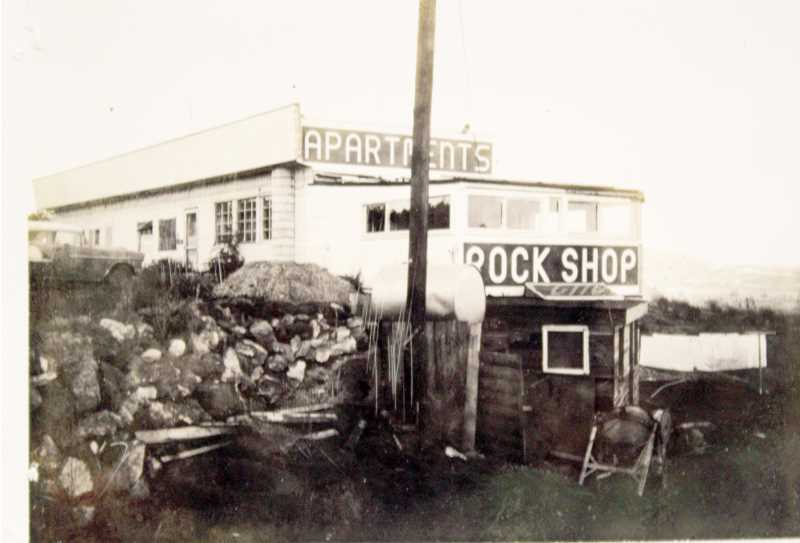 SUBMITTED PHOTO - The Rock Shop advertises apartments, in addition to rocks, in a 1964 photo, which shows an addition.