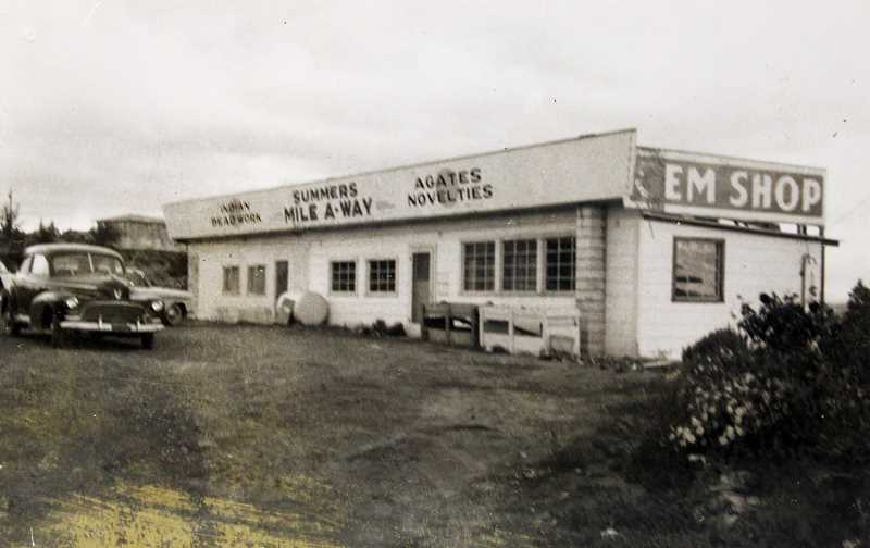 SUBMITTED PHOTO - In a 1950s photo, the business, owned by the Summers, touts its 'Indian beadwork,' agates, novelties and gem shop at the popular Madras stop.