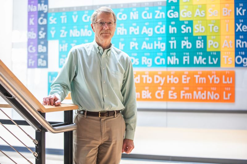 PMG PHOTO: JONATHAN HOUSE - Dave Vernier, co-president of Vernier Software & Technology, stands in front of a glass display of the periodic table of elements in his companys Central Beaverton headquarters.