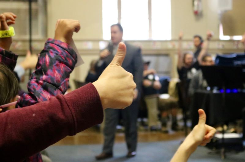 PMG PHOTO: ZANE SPARLING - Children gave a big thumbs-up during a special collaborative concert between CymaSpace and the Oregon Symphony on Tuesday, Sept. 24, at Grout Elementary in Portland.