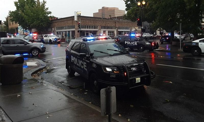 COURTESY PHOTO: KOIN 6 NEWS - Three people were wounded Thursday, Oct. 3, in a shooting at a downtown Vancouver, Washington, apartment tower.