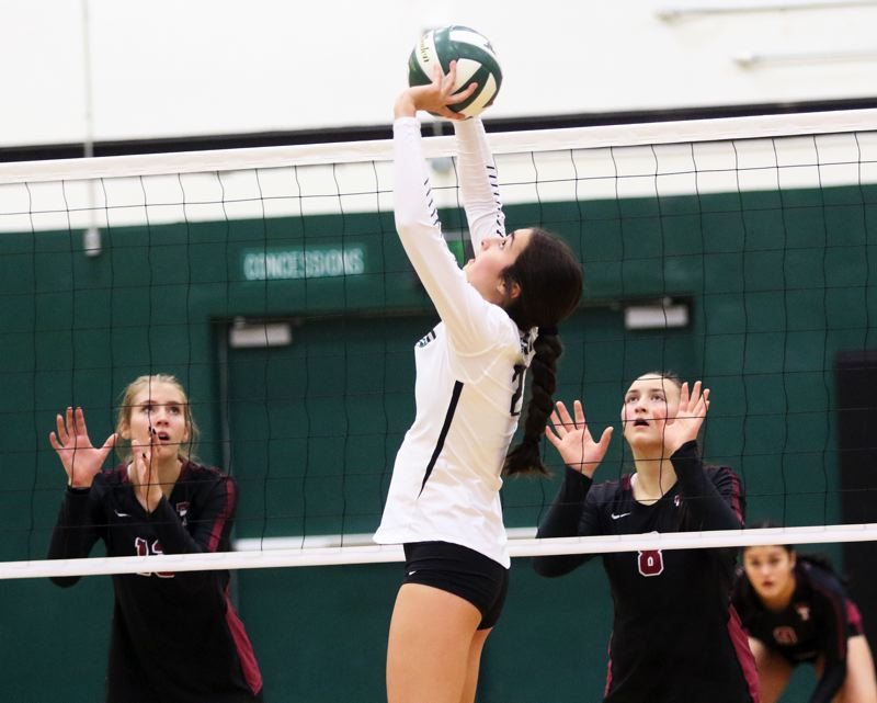 PMG PHOTO: DAN BROOD - Tigard High School junior Kennedy Peery sets the ball during the Tigers' league match with Tualatin on Thursday.