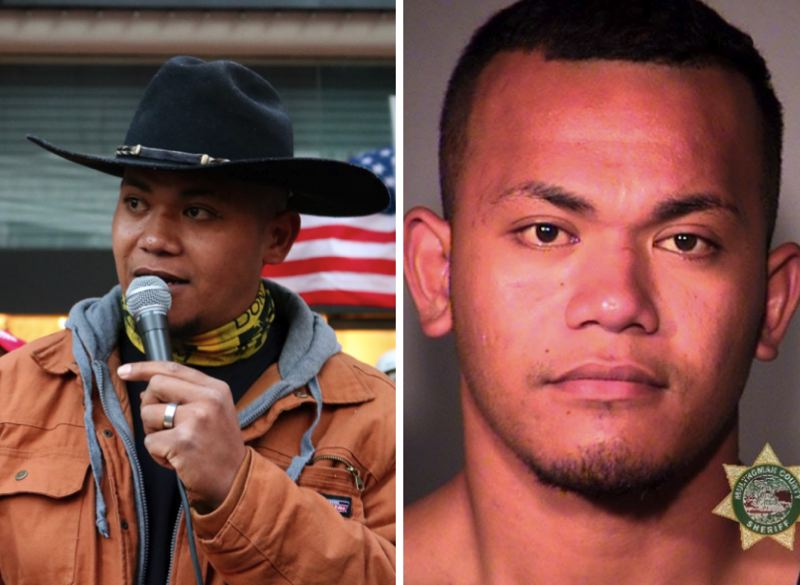 PMG/MCSO PHOTOS - Tusitala 'Tiny' Toese is shown at left during a 2018 protest and a right in a current mugshot after his arrest on Friday, Oct. 4, 2019 at Portland International Airport.