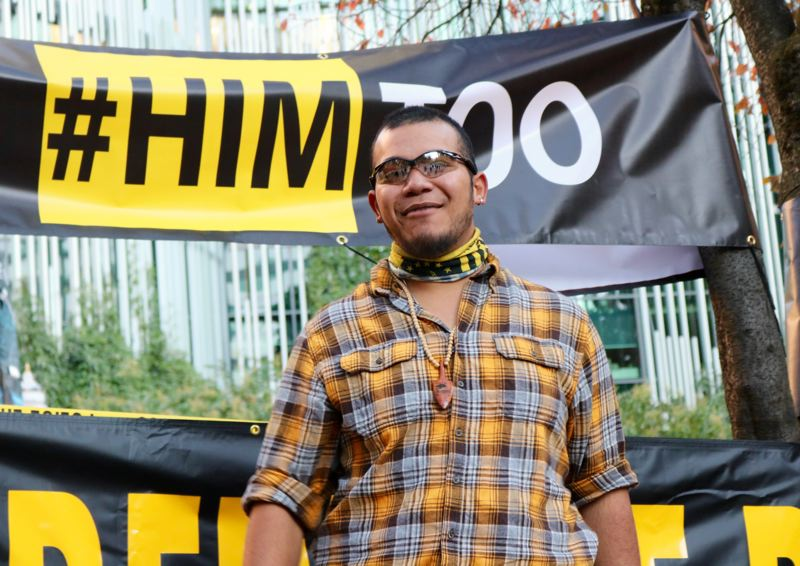 PMG PHOTO: ZANE SPARLING - Tusitala 'Tiny' Toese was a frequent flyer at Portland protests, including at a 'HimToo' rally organized in November, 2018.