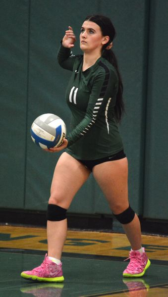 PMG PHOTO: DAVID BALL - Estacadas Sidnee Keller prepares to hit a serve during Thursdays home match against league-leading Corbett.
