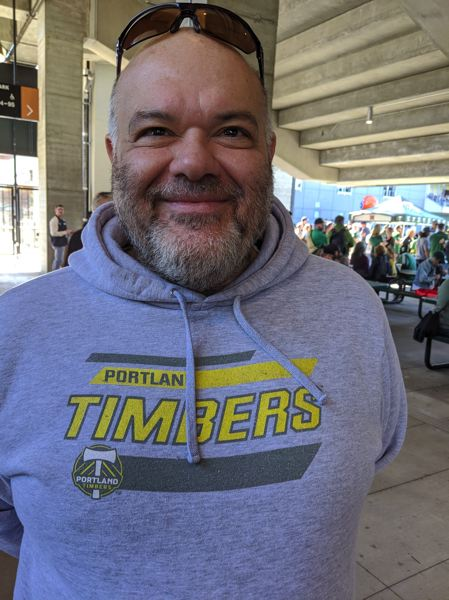 PMG PHOTO: JOSEPH GALLIVAN - Nameer al-Mulla, not that happy with the Timbers season, but not pessimistic about the playoffs. 'Where's Valeri?'