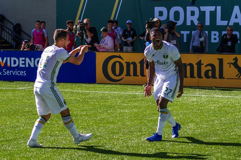 COURTESY PHOTO: DIEGO G. DIAZ - Dairon Asprilla is all smiles after scoring the go-ahead goal in the Timbers 3-1 Sunday win over San Jose. Sebastian Blanco joins in the celebration.