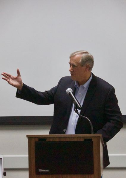 PMG PHOTO: CHRISTOPHER KEIZUR - U.S. Sen. Jeff Merkley visited Gresham Thursday afternoon, Oct. 3, to talk emergency preparedness.