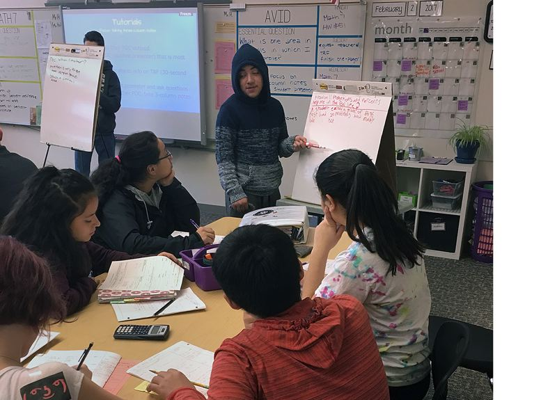 COURTESY PHOTO - Students in the North Clackamas School District participate in a tutorial through an Achievement Via Individual Determination program.